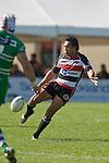 Koiatu Koiatu kicks for territory. Air New Zealand Cup rugby game between the Counties Manukau Steelers & Manawatu Turbos, played at Growers Stadium Pukekohe on Staurday September 20th 2008..Counties Manukau won 27 - 14 after trailing 14 - 7 at halftime.