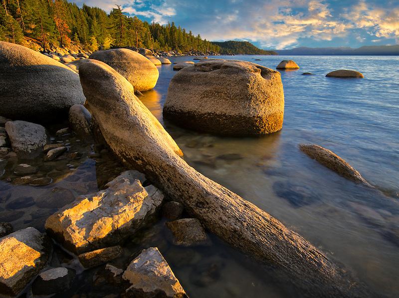 Boulder rocks on shoreline of Chimney Beach. Lake Tahoe, Nevada