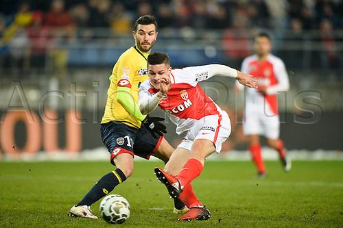 10.01.2017. Stade Bonal, Montbéliard, France. French League cup football, Sochaux versus Monaco. Guido CARRILLO (mon) turns inside Florent OGIER (soc)