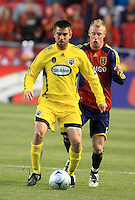 Jason Garey (left) and Nat Borchers (right) in the Columbus Crew vs Real Salt Lake 1-4 RSL win at Rio Tinto Stadium in Sandy, Utah on April 2, 2009.