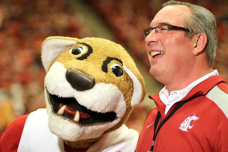 """Bill Moos and """"Butch"""" at the WSU vs. UW basketball game at Friel Court in Pullman, Washington, on February 27, 2010."""