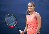 June 11th 2017, Nottingham, England;WTA Aegon Nottingham Open Tennis Tournament day 2;  Eden Silva of Great Britain looking relaxed as she warms up for her match today against Tereza Martincova of The Czec Republic