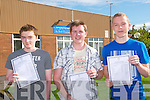 Leaving certificate students from Tarbert Comprehensive School who received there results on Wednesday morning ;Patrick O'Brien, 510 points, Thomas Brouder, 490 point & Paul Hanmlon, 580 points/