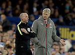 Arsene Wenger manager of Arsenal asks a question of the fourth official Mike Dean during the English Premier League match at Goodison Park Stadium, Liverpool. Picture date: December 13th, 2016. Pic Simon Bellis/Sportimage