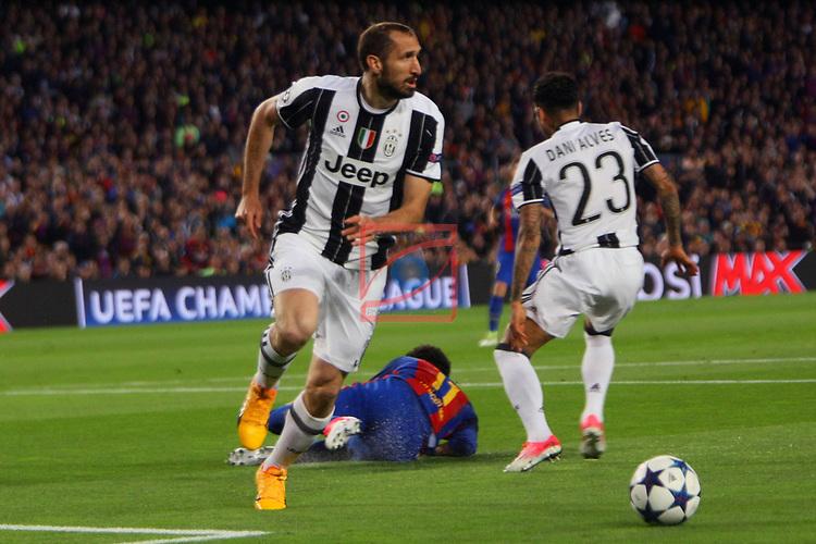 UEFA Champions League 2016/2017.<br /> Quarter-finals 2nd leg.<br /> FC Barcelona vs Juventus Football Club: 0-0.<br /> Giorgio Chiellini, Neymar Jr. &amp; Dani Alves.