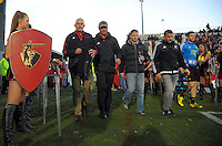 The Crusaders coaches walk out for the Super Rugby match between the Crusaders and Hurricanes at AMI Stadium, Christchurch, New Zealand on Saturday, 16 July 2015. Photo: Dave Lintott / lintottphoto.co.nz