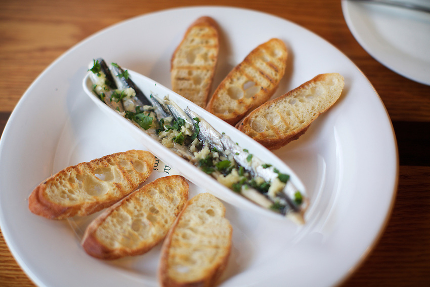 Jersey City, NJ - January 14, 2016: White Anchovies at Third and Vine, a Cheese and Wine Tavern in the Historic Downtown District. CREDIT: Clay Williams for Edible Jersey.<br /> <br /> <br /> &copy; Clay Williams / claywilliamsphoto.com