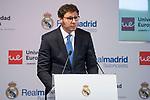 Universidad Europea's CEO, Conrado Briceno during the presentation of the sponsorship agreement between Real Madrid baloncesto and Universidad Europea at Santiago Bernabeu Stadium in Madrid, Spain September 06, 2017. (ALTERPHOTOS/Borja B.Hojas)