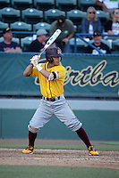 Jordan Aboites (23) of the Arizona State Sun Devils bats against the Long Beach State Dirtbags at Blair Field on February 27, 2016 in Long Beach, California. Long Beach State defeated Arizona State, 5-2. (Larry Goren/Four Seam Images)