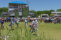 Marc Leishman (AUS), Adam Scott (AUS), and Scott Piercy (USA) make their way down 1 during round 1 of the AT&amp;T Byron Nelson, Trinity Forest Golf Club, at Dallas, Texas, USA. 5/17/2018.<br /> Picture: Golffile | Ken Murray<br /> <br /> <br /> All photo usage must carry mandatory copyright credit (&copy; Golffile | Ken Murray)