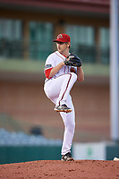 Florida Fire Frogs relief pitcher Justin Kelly (17) delivers a pitch during a game against the Palm Beach Cardinals on May 1, 2018 at Osceola County Stadium in Kissimmee, Florida.  Florida defeated Palm Beach 3-2.  (Mike Janes/Four Seam Images)
