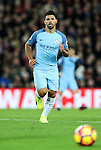 Sergio Aguero of Manchester City during the English Premier League match at Anfield Stadium, Liverpool. Picture date: December 31st, 2016. Photo credit should read: Lynne Cameron/Sportimage