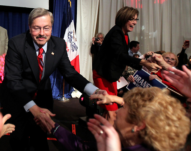 Governor-elect Terry Branstad and running mate Kim Reynolds arrive to celebrate victory on election night.  Republican Party election night rally at the Hy-Vee Conference Center in West Des Moines on Tuesday night, November 2, 2010.