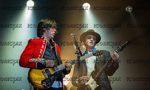 The Libertines -  Carl Barat (L) and Pete Doherty (R) performing live at Alexandra Palace London UK - 26 September 2014.  Photo credit: Iain Reid/IconicPix