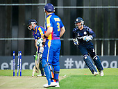 ICC World T20 Qualifier (Warm up match) - Scotland V Namibia at Grange CC, Edinburgh - Scotland keeper Craig Wallace (right) celebrates the wicket of Namibia bat Stephan Baard (bowled Watt for 32) — credit @ICC/Donald MacLeod - 06.7.15 - 07702 319 738 -clanmacleod@btinternet.com - www.donald-macleod.com