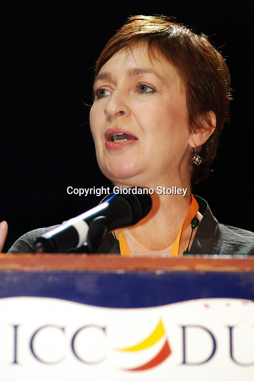 DURBAN - 1 September 2007 - Shelagh Foster, the editor of South Africa's Your Pregnancy magazine speaks at the Durban International Convention Centre (ICC) where an attempt was made to break a Guinness World Record by getting the most pregnant woman in one place. The record of 1146 women was not beaten..Picture: Giordano Stolley/Allied Picture Press