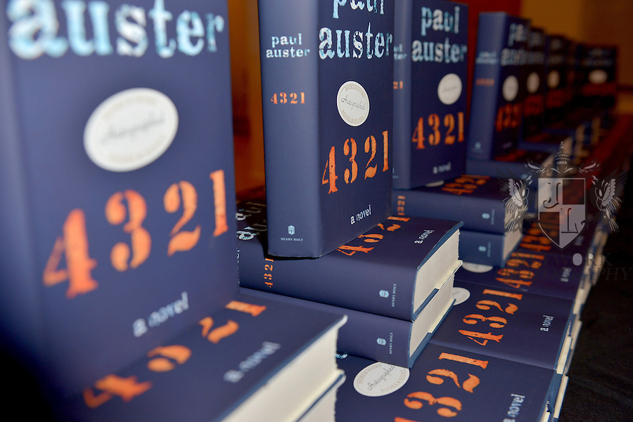 MIAMI, FL - FEBRUARY 21: General view of books on display during author Paul Auster reading from his latest novel, '4 3 2 1' during An Evening with Paul Auster & friends! MUSIC, MAGIC & THE MUSE: features performance by singer Sophie Auster and magicians David Blaine at Adrienne Arsht Center - Knight Concert Hall on February 21, 2017 in Miami, Florida. ( Photo by Johnny Louis / jlnphotography.com )