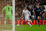 Gareth Bale of Real Madrid and Alex Ramiro (L) and Diego Llorente of Real Sociedad during La Liga match between Real Madrid and Real Sociedad at Santiago Bernabeu Stadium in Madrid, Spain. November 23, 2019. (ALTERPHOTOS/A. Perez Meca)