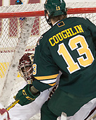 Joe Woll (BC - 31), Liam Coughlin (UVM - 13) - The visiting University of Vermont Catamounts tied the Boston College Eagles 2-2 on Saturday, February 18, 2017, Boston College's senior night at Kelley Rink in Conte Forum in Chestnut Hill, Massachusetts.Vermont and BC tied 2-2 on Saturday, February 18, 2017, Boston College's senior night at Kelley Rink in Conte Forum in Chestnut Hill, Massachusetts.