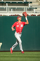 Luis Alvarado (19) of the Nebraska Cornhuskers fields during the 2015 Big Ten Conference Tournament between the Illinois Fighting Illini and Nebraska Cornhuskers at Target Field on May 20, 2015 in Minneapolis, Minnesota. (Brace Hemmelgarn/Four Seam Images)
