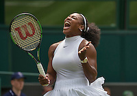 London, England, 28 june, 2016, Tennis, Wimbledon, Serena Williams (USA) screams <br />