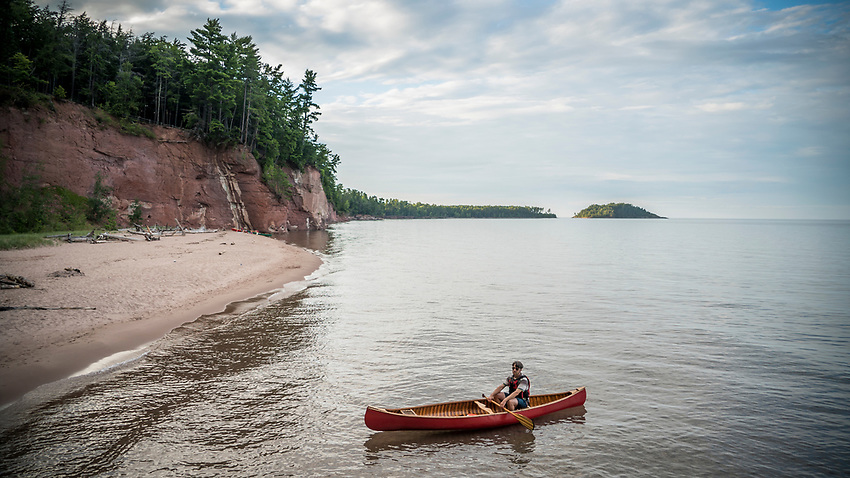 Canoeing Lake Superior near Marquette, Michigan.