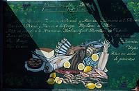 Europe/Espagne/Iles Canaries/Lanzarote/Puerto del Carmen : Menu d'un restaurant de poissons
