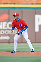 Buffalo Bisons shortstop Lourdes Gurriel Jr. (13) during a game against the Scranton/Wilkes-Barre RailRiders on May 18, 2018 at Coca-Cola Field in Buffalo, New York.  Buffalo defeated Scranton/Wilkes-Barre 5-1.  (Mike Janes/Four Seam Images)