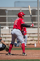 Cincinnati Reds outfielder Brian O'Grady (12) during a Minor League Spring Training game against the Chicago White Sox at the Cincinnati Reds Training Complex on March 28, 2018 in Goodyear, Arizona. (Zachary Lucy/Four Seam Images)