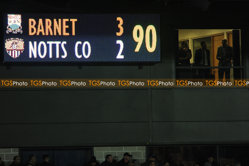 The scoreboard at 90 mins during Barnet vs Notts County, Sky Bet EFL League 2 Football at the Hive Stadium on 26th November 2016