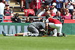 Per Mertesacker of Arsenal receives attention after he suffered a head injury during the The FA Community Shield match at Wembley Stadium, London. Picture date 6th August 2017. Picture credit should read: Charlie Forgham-Bailey/Sportimage