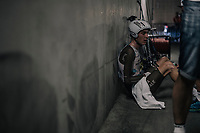 Romain Bardet (FRA/AG2R-La Mondiale) collapses in the Orange Vélodrome tunnels immediatly after finishing his TT where he left it all on the road and also fearing he might have tumbled from the Tour podium having not done as good as hoped. Emotions and exhaustion take over as he eventually hears from his team he managed to keep 1 measerly second ahead of  Mikel Landa (who stays 4th overall) and is likely to end up on the Paris podium...<br /> <br /> 104th Tour de France 2017<br /> Stage 20 (ITT) - Marseille › Marseille (23km)