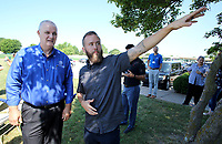 NWA Democrat-Gazette/DAVID GOTTSCHALK  Springdale mayor Doug Sprouse (left) speaks with Tim Babcock, with Progressive Bike Ramps, Tuesday, June 5, 2018, following the announcement of the creation of The Runway Bicycle Skills Park at the Jones Center in Springdale. The park will have the largest asphalt pump track in North America and will host the Pump Track (bicycling) World Championships sponsored by Red Bull in October.