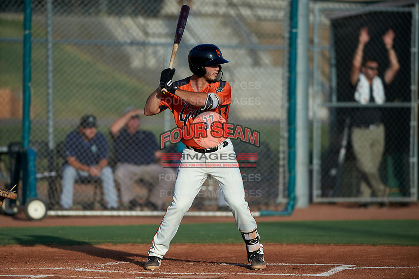 AZL Giants Orange Tyler Wyatt (83) at bat during an Arizona League game against the AZL Mariners on July 18, 2019 at the Giants Baseball Complex in Scottsdale, Arizona. The AZL Giants Orange defeated the AZL Mariners 7-4. (Zachary Lucy/Four Seam Images)