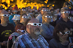 © Joel Goodman - 07973 332324 . 20/07/2013 . Suffolk , UK . Large crowds wearing 3D glasses watch as Kraftwerk perform their 3D show on the Obelisk Stage . The Latitude music and culture festival in Henham Park , Southwold . Photo credit : Joel Goodman