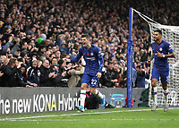 9th November 2019; Stamford Bridge, London, England; English Premier League Football, Chelsea versus Crystal Palace; Christian Pulisic of Chelsea celebrates after scoring his sides 2nd goal in the 79th minute to make it 2-0 with a diving header with Emerson Palmieri of Chelsea - Strictly Editorial Use Only. No use with unauthorized audio, video, data, fixture lists, club/league logos or 'live' services. Online in-match use limited to 120 images, no video emulation. No use in betting, games or single club/league/player publications