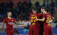 Football, Serie A: AS Roma - Brescia FC, Olympic stadium, Rome, November 24, 2019. <br /> Roma's Edin Dzeko (second from right) celebrates after scoring with his teammates during the Italian Serie A football match between Roma and Brescia at Olympic stadium in Rome, on November 24, 2019. <br /> UPDATE IMAGES PRESS/Isabella Bonotto