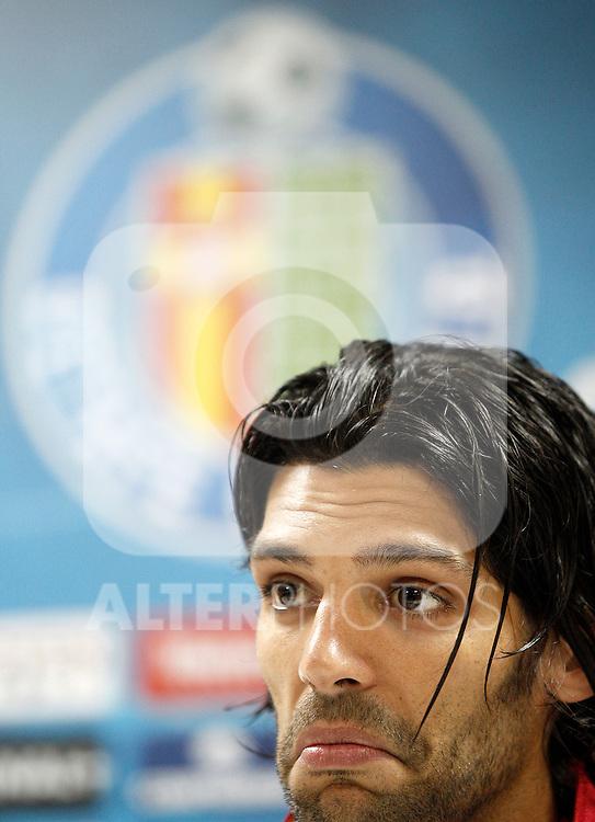 Getafe's Angel Lafita in press cenference after La Liga match.November 18,2012. (ALTERPHOTOS/Acero)