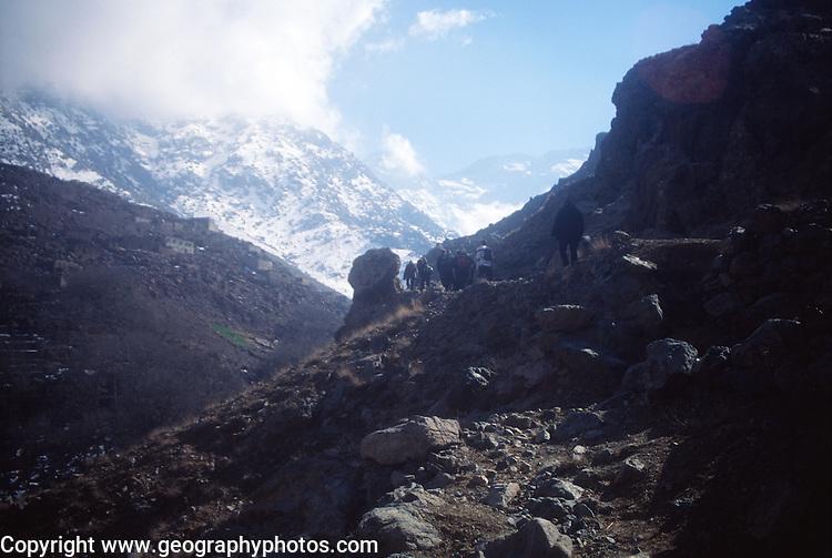 Trekking trail looking towards Jebel Toubkal, Atlas Mountains, near Imlil, Morocco