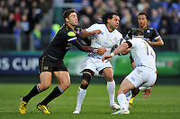 Isa Nacewa of Leinster Rugby is tackled by Matt Banahan of Bath Rugby. European Rugby Champions Cup match, between Bath Rugby and Leinster Rugby on November 21, 2015 at the Recreation Ground in Bath, England. Photo by: Patrick Khachfe / Onside Images