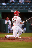 Springfield Cardinals center fielder Harrison Bader (33) at bat during a game against the Northwest Arkansas Naturals on April 26, 2016 at Hammons Field in Springfield, Missouri.  Northwest Arkansas defeated Springfield 5-2.  (Mike Janes/Four Seam Images)