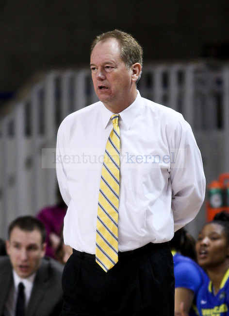 Morehead State head coach Greg Todd watches on during the first half of the UK Hoops vs. Morehead State women's Basketball game at Memorial Coliseum in Lexington , Ky., on Wednesday, November 19, 2014. Photo by Jonathan Krueger | Staff