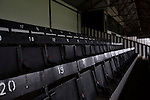 Seats in the main stand at Victory Park, before Chorley played Altrincham in a Vanarama National League North fixture. Chorley were founded in 1883 and moved into their present ground in 1920. The match was won by the home team by 2-0, watched by an above-average attendance of 1127.