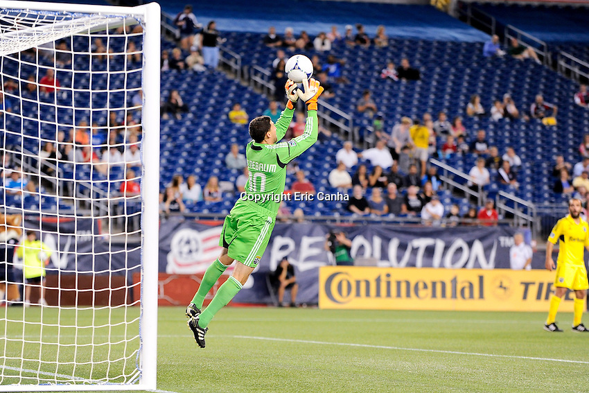 September 5, 2012 Columbus Crew goalkeeper Andy Gruenebaum #30 in game action during the New England Revolution vs Columbus Crew MLS game held at Gillette Stadium, in Foxborough, Massachusetts.  Eric Canha/CSM