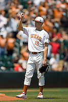 Starting pitcher Sam Stafford #19 of the Texas Longhorns before the game against Texas Tech on April 17, 2011 at UFCU Disch-Falk Field in Austin, Texas. (Photo by Andrew Woolley / Four Seam Images)