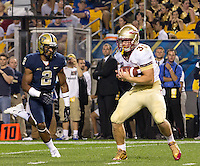 Florida State tight end Nick O'Leary (35) scores on one of his three touchdown catches as Pitt defensive back  K'Waun Williams (2) trails. Florida State defeated Pitt 41-13 at Heinz Field on September 2, 2013.