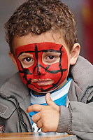 Dutch child with face painting, Amsterdam, Netherlands, Holland