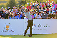 Jason Day (AUS) watches his tee shot on 18 during round 2 Four-Ball of the 2017 President's Cup, Liberty National Golf Club, Jersey City, New Jersey, USA. 9/29/2017.<br /> Picture: Golffile | Ken Murray<br /> <br /> All photo usage must carry mandatory copyright credit (&copy; Golffile | Ken Murray)