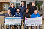 A fundraiser in memory of Tom Raymond,  held in the Munster Bar raised the sum of €2,500 which went to the Kerry Cancer Support Group and €3,250 to the Kerry Hospice at the Inpatient Unit at the Kerry Hospice on Thursday.  <br /> Seated l to r: Breda Dyland, Richard and Thomas Raymond and Joe Hennebry.<br /> Back l to r: Linda Gleeson, Willie Dennehy and John Moriarty.