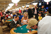 Players compete at the 36th annual World Series of Poker at the Rio on Thursday July 7, 2005 in Las Vegas, Nevada. Thursday marked the start of the no-limit Texas hold'em main event. Approximately 5,600 players are competing for a chance to win the first-place prize of roughly $7.5 million. (Photo by Landon Nordeman)